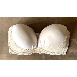 Victoria's Secret 32D Nude Lace Trim Strapless Bra